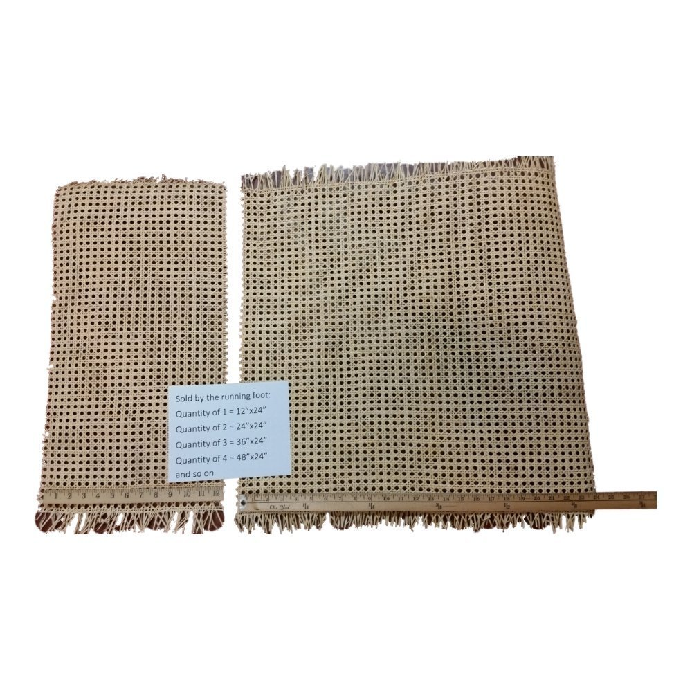 """24"""" Wide Cane Webbing Standard Size Fine Open 1/2"""" Mesh, Sold By the Running Foot, Qty of 1 = 12"""", Qty of 2 = 24"""", Qty of 3 = 36"""" and so on."""