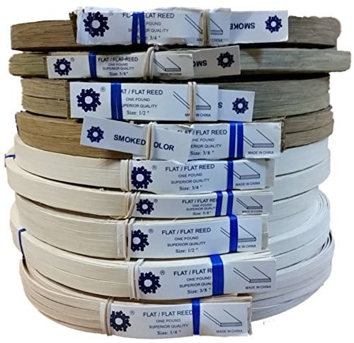"1 Pound Coil of Flat Reed, Natural or Smoked Color, Any Width, 1/4"" 3/8"" 1/2"" 5/8"" 3/4"" (3/8'' Wide, Natural)"