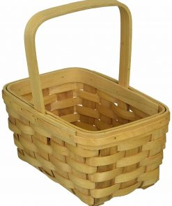"""Darice 2848-22 Wood Basket 8.5"""" , Wood country Basket with Fixed Handle"""