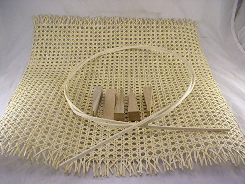 "Pressed Cane Webbing Kit, Contains a 24""x24"" Piece of 1/2"" Fine Open Cane Mesh, 8' of #8 Spline, 5 Wood Wedges & Full Color Instruction Booklet by Ed Hammond (Breuer)"
