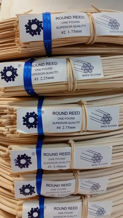 1 Pound Coil Of Round Reed, Natural Color, Any Size, #2,3,4,5,6,7,8,9,10 (#4)