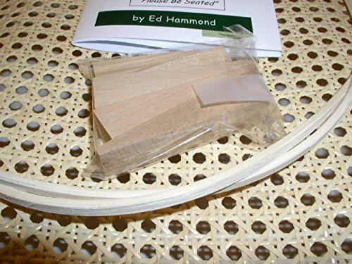 """Pressed Cane Webbing Kit, Contains a 24""""x24"""" Piece of 1/2"""" Fine Open Cane Mesh, 8' of #8 Spline, 5 Wood Wedges & Full Color Instruction Booklet by Ed Hammond (Breuer)"""